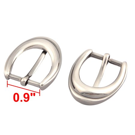 Household Metal Clothes Trousers Waist Belt Single Pin Buckle Silver Tone 4 Pcs - image 2 of 3