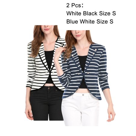 Lined Notched Collar Blazer - Women's Notched Lapel Button Decor Long Sleeves Striped Blazer