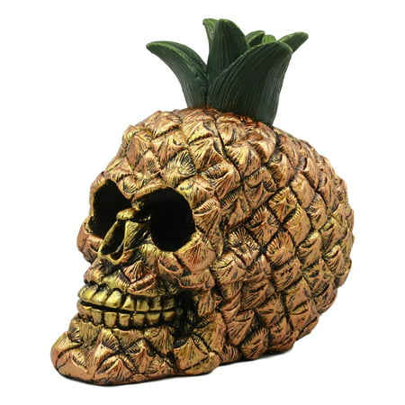 Ebros Hawaiian Tropical Pineapple Golden Skull Figurine 6