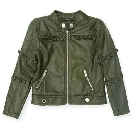 Urban Republic Girls Green Ruffled Faux Leather Motorcycle Jacket