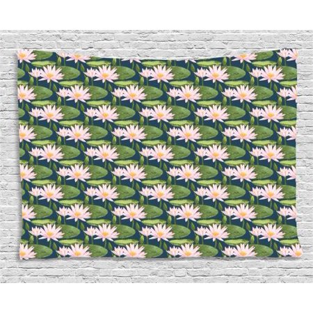 Lily Flower Tapestry, Hand Drawn Style Pink Blossoms on a Pond Aquatic Flora Feng Shui Zen Garden, Wall Hanging for Bedroom Living Room Dorm Decor, 60W X 40L Inches, Multicolor, by