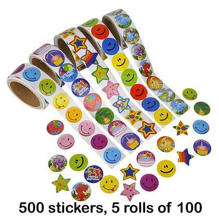 Sticker Rolls (500 Sticker roll assortment, 5)