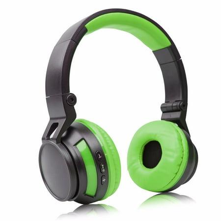 Stereo Wireless Bluetooth Headset/ Headphones for Alcatel A7 XL/ Idol 4S/ PLUS 12/ OneTouch IDOL 3/ 4/ 5/ Fierce/ GO FLIP/ Idol X/ A7/ QuickFlip (Green/ Black)