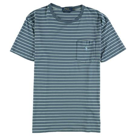 Ralph Lauren Mens Striped Basic T-Shirt, Blue, X-Small