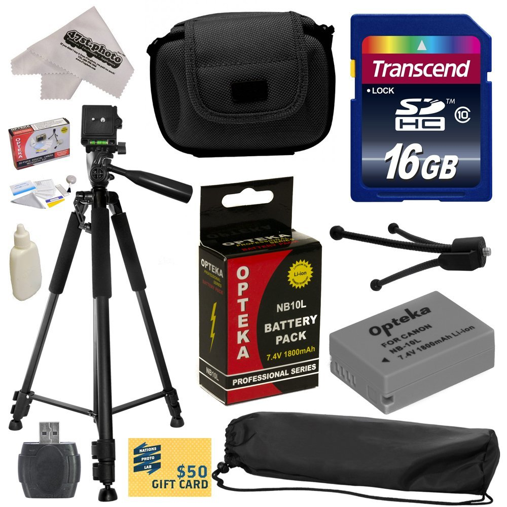 Best Value Kit for Canon PowerShot G1X G16 G15 SX50HS SX40HS SX50 SX40 HS Digital Camera with 16GB SDHC Card, Reader, Opteka NB-10L 1800mAh Battery, Case, Tripod, Cleaning Kit, $50 Print Gift Card