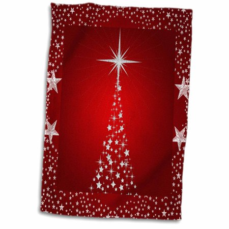 3dRose Silver Star Christmas Tree with Holiday Red Background - Towel, 15 by 22-inch ()