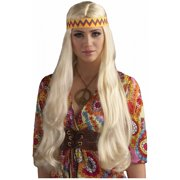 Long Hippie Wig with Headband (Blonde)