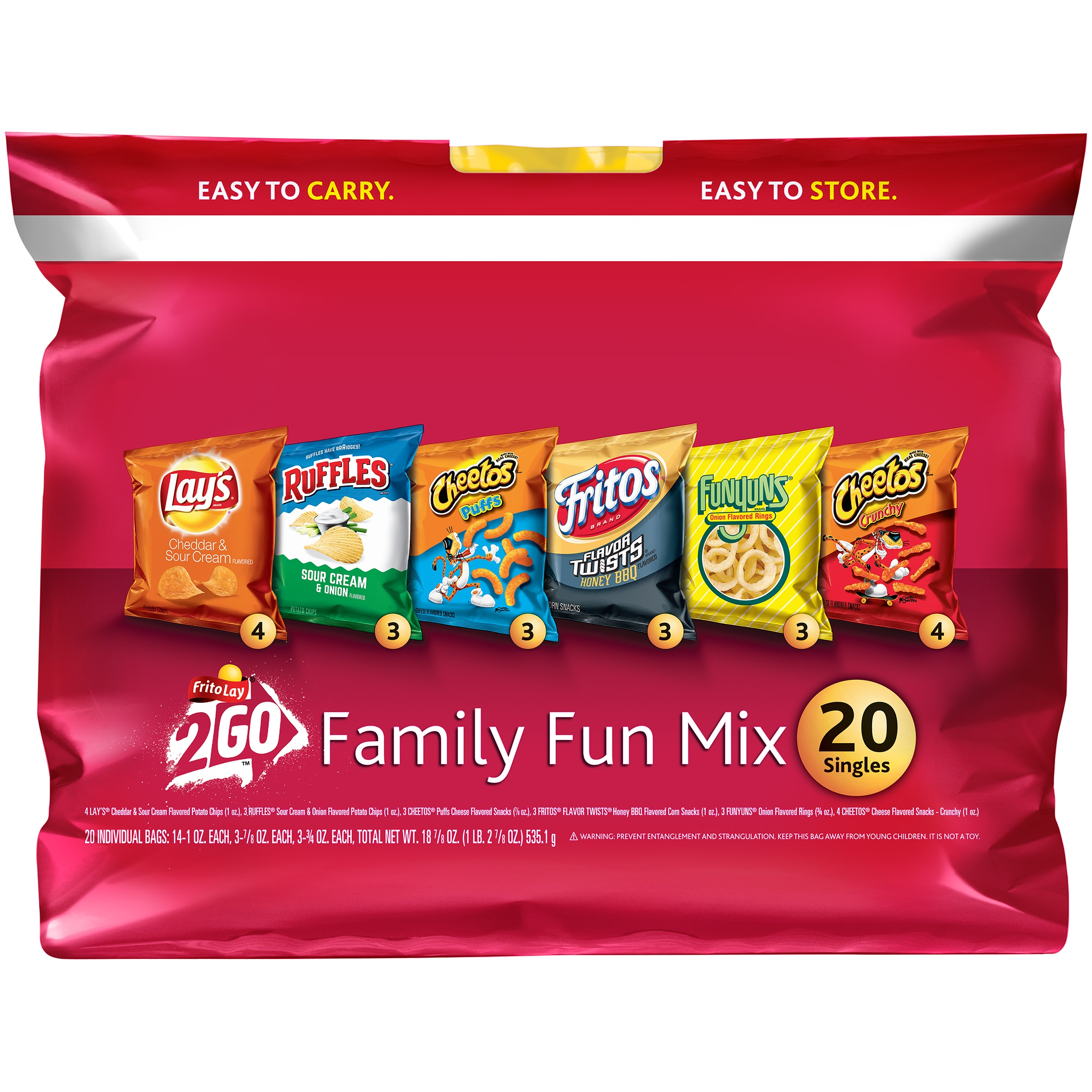 Frito-Lay 2Go Family Fun Mix Variety Pack, 0.75 Oz - 1 Oz, 20 Ct