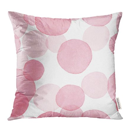 Quilted Pin Cushions - YWOTA Blue Dot Pink Circle Pattern Watercolor Purple Baby Girl Confetti Cute Water Paint Pillow Cases Cushion Cover 16x16 inch