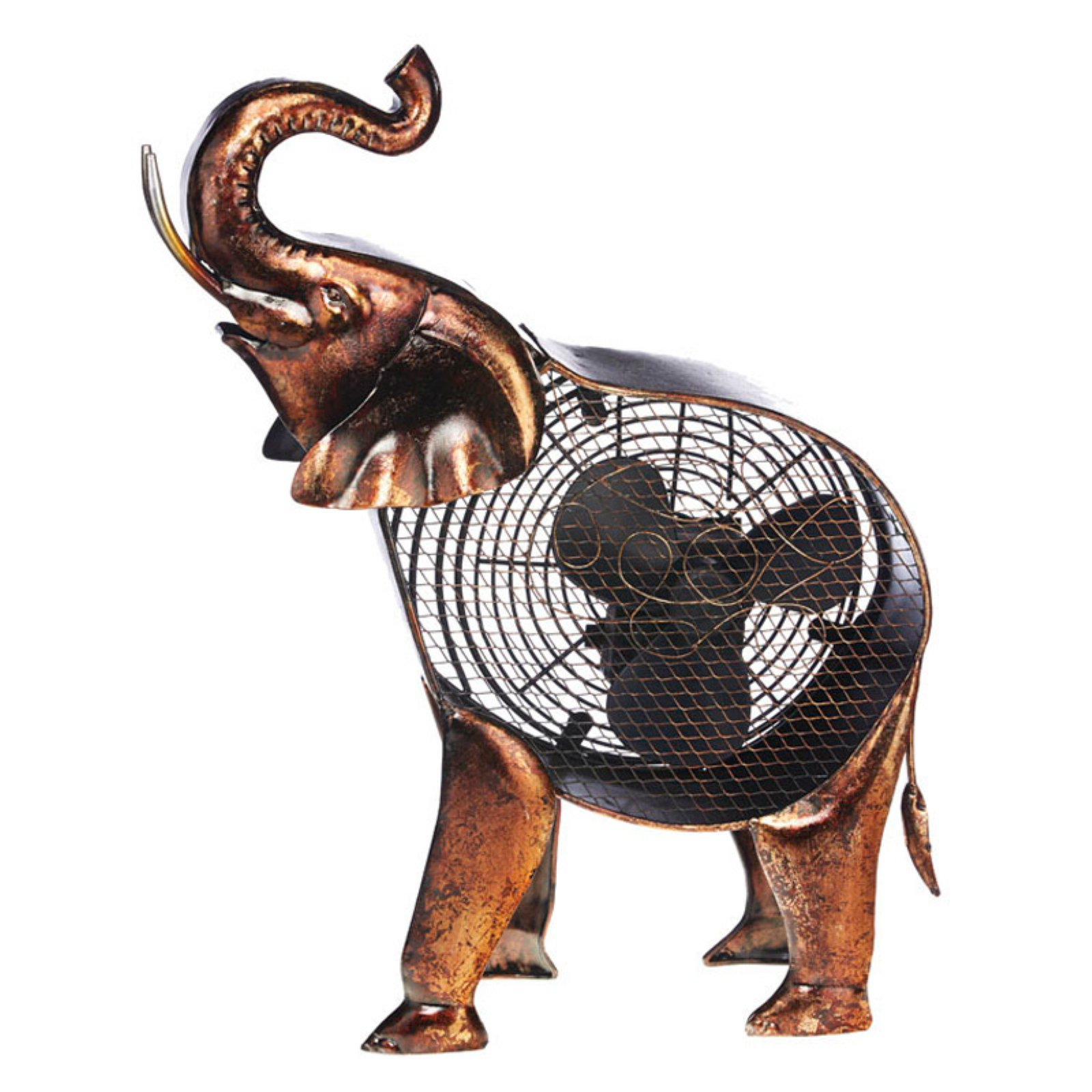 DecoFLAIR Table Fan Two-Speed Electric Circulating Fan, African Elephant Figurine Fan