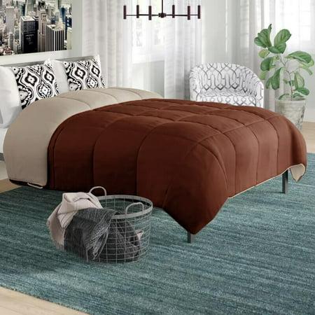 Peace Nest Brown Contrast Down-Alternative Comforter, Full/Queen Size ()