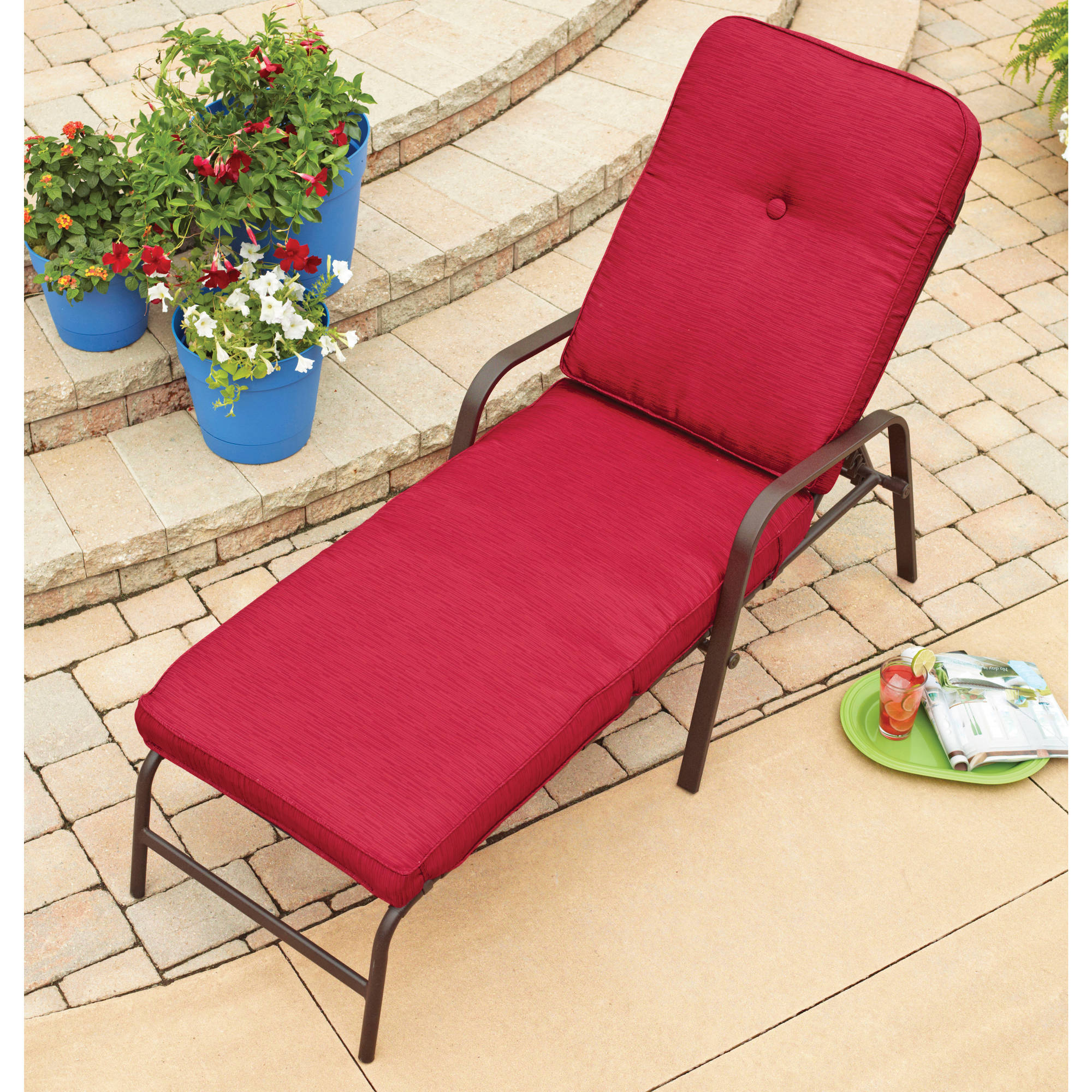 Mainstays Deluxe Orbit Chaise Lounge with Umbrella & Side Table