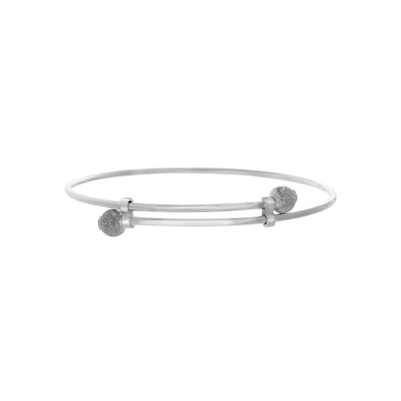 Ball Ends Adjustable Bangle in Sterling Silver