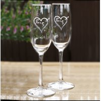 Personalized Initials in heart champagne glasses (2pcs)