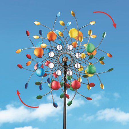 Thanksgiving Yard Stakes (Bright Colorful Spinning Kaleidoscope Garden Decor Yard Stake with Sparkling Acrylic)