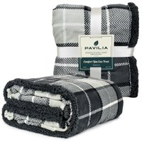 PAVILIA Premium Plaid Sherpa Fleece Throw Blanket   Super Soft, Cozy, Plush, Lightweight Microfiber, Reversible Throw for Couch, Sofa, Bed, All Season (50 X 60 Inches Charcoal Grey)
