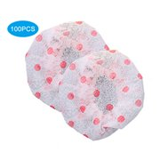 100Pcs Eco-friendly Microphone Covers Windscreen Dustproof Protection Mike Cover (White, red dot)