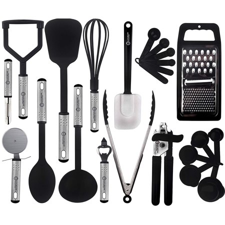 Cooking Utensils Set-Kitchen Accessories, Nylon Cookware Set-Kitchen Gadget Tools of Black 23 Pieces Lux Decor Collection