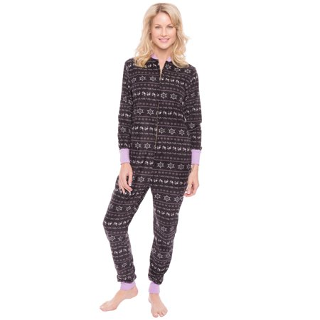 Women's Microfleece Onesie Jumper Pajama - Nordic Iron/Lilac - X-Large