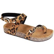 Glory-610 Women Sandals Shoes Gladiator Thong Flops T Strap Flip Flat Strappy Toe Leopard
