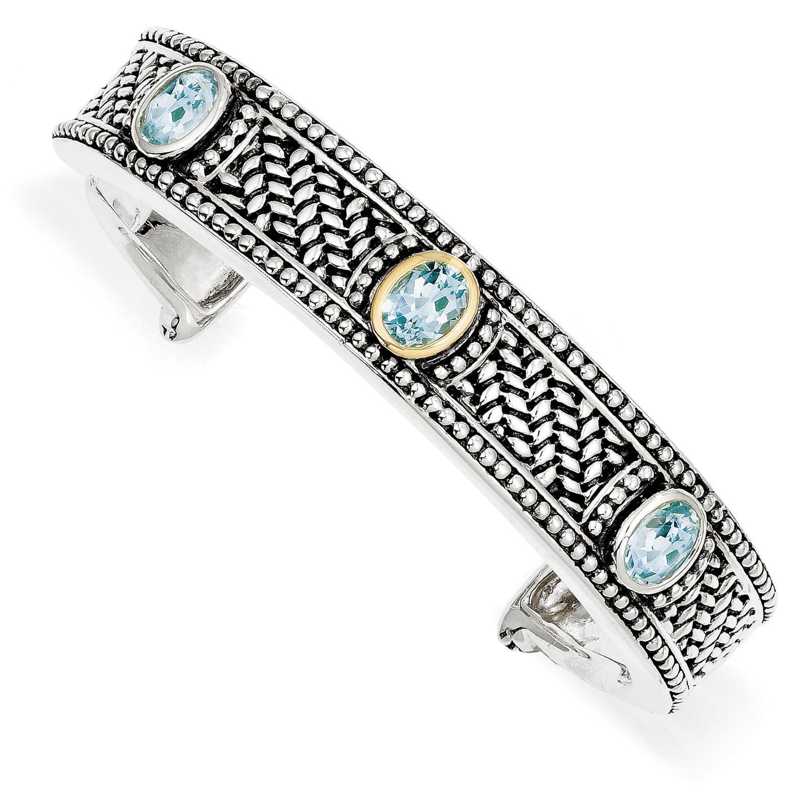 14k Silver Two-Tone Sterling Silver w  4.80Sky Blue Topaz Cuff Bangle Bracelet by
