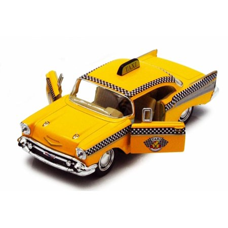 1957 Chevy Bel Air Taxi Cab, Yellow - Kinsmart 5360D - 1/40 scale Diecast  Model Toy Car (Brand New, but NOT IN BOX)