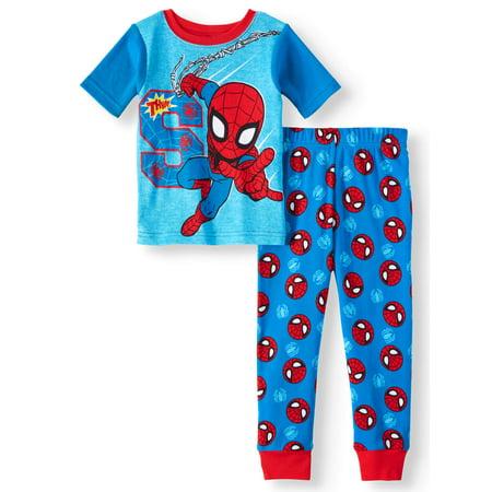 Man Eating Boy (Toddler Boys' Spider-Man Cotton Tight Fit Pajamas, 2-Piece)