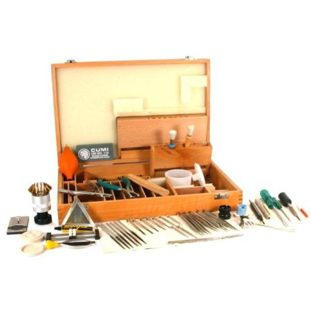 Wood Tool Box - 84 Pc Jewelry & Watch Opener Repair Tool Kit Wood Box