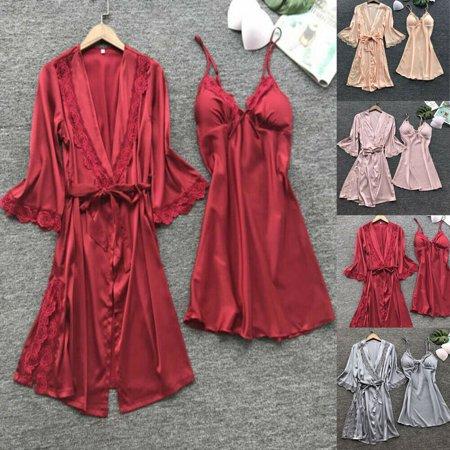 3Pcs Women's Sexy Silk Satin Pajamas Robe dress Lingerie Sleepwear Nightwear - Second Skin Lingerie