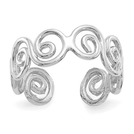 Solid 14k White Gold Swirl Toe Ring (5mm) 14k Twisted Toe Ring