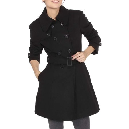 Belted Textured Wool Blend - Alpine Swiss Keira Women's Trench Coat Double Breasted Wool Jacket Belted Blazer