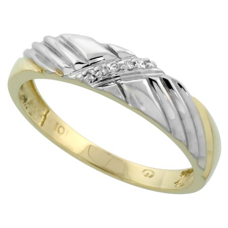10k Yellow Gold Men's Diamond Wedding Band Ring 3/16 inch wide Size 11
