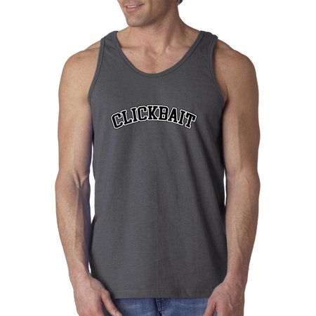 New Way 1164 - Men's Tank-Top Clickbait College Block Text Logo Large Charcoal