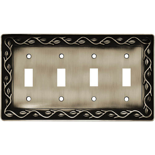 Brainerd Leaf and Vine Quad-Switch Wall Plate, Brushed Satin Pewter