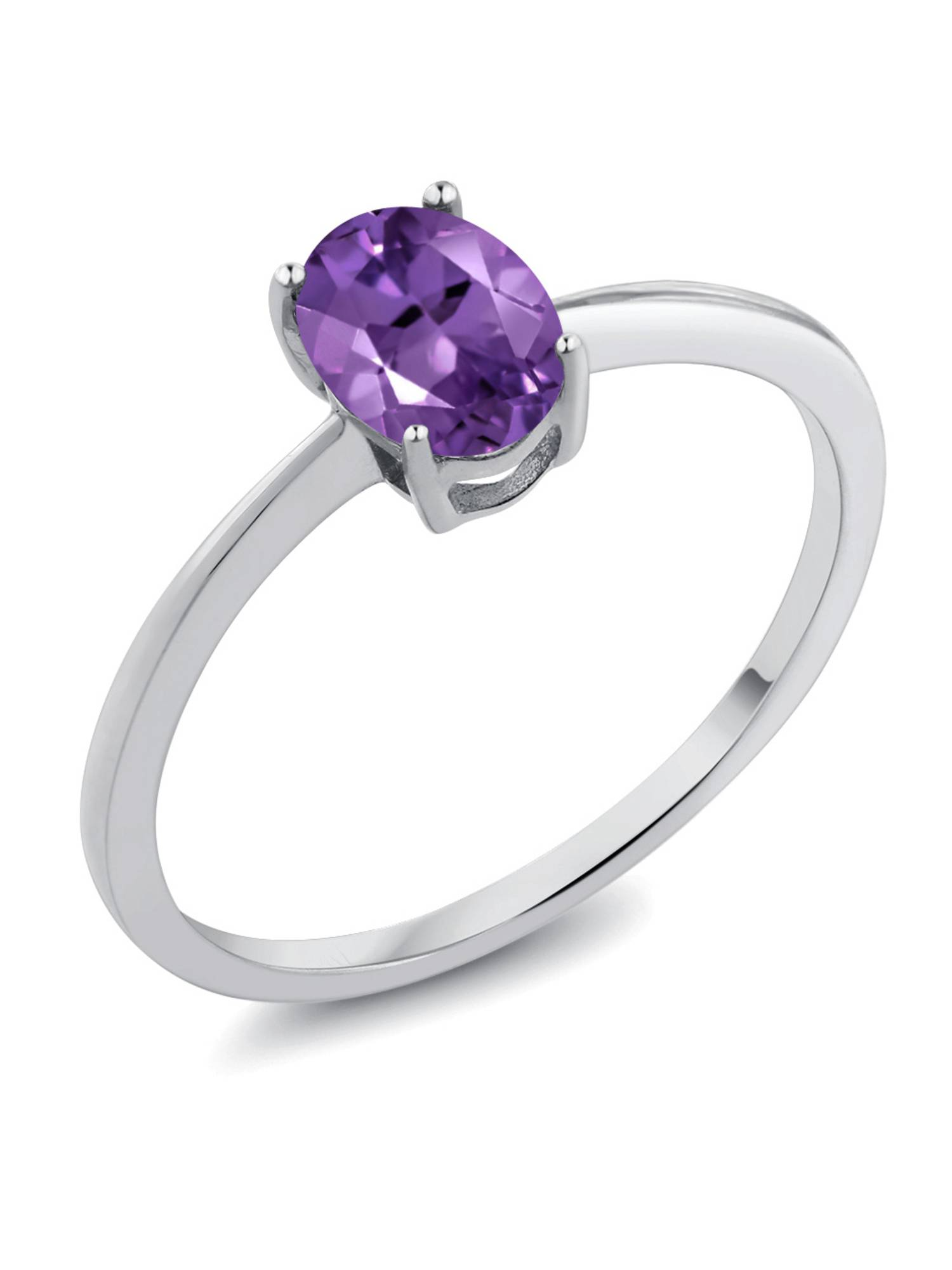 0.75 Ct Oval Purple Amethyst 10K White Gold Ring