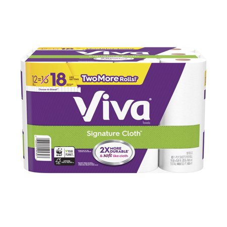 Viva Signature Cloth Paper Towels, Choose-A-Sheet, 12 Big - Household Roll Towels