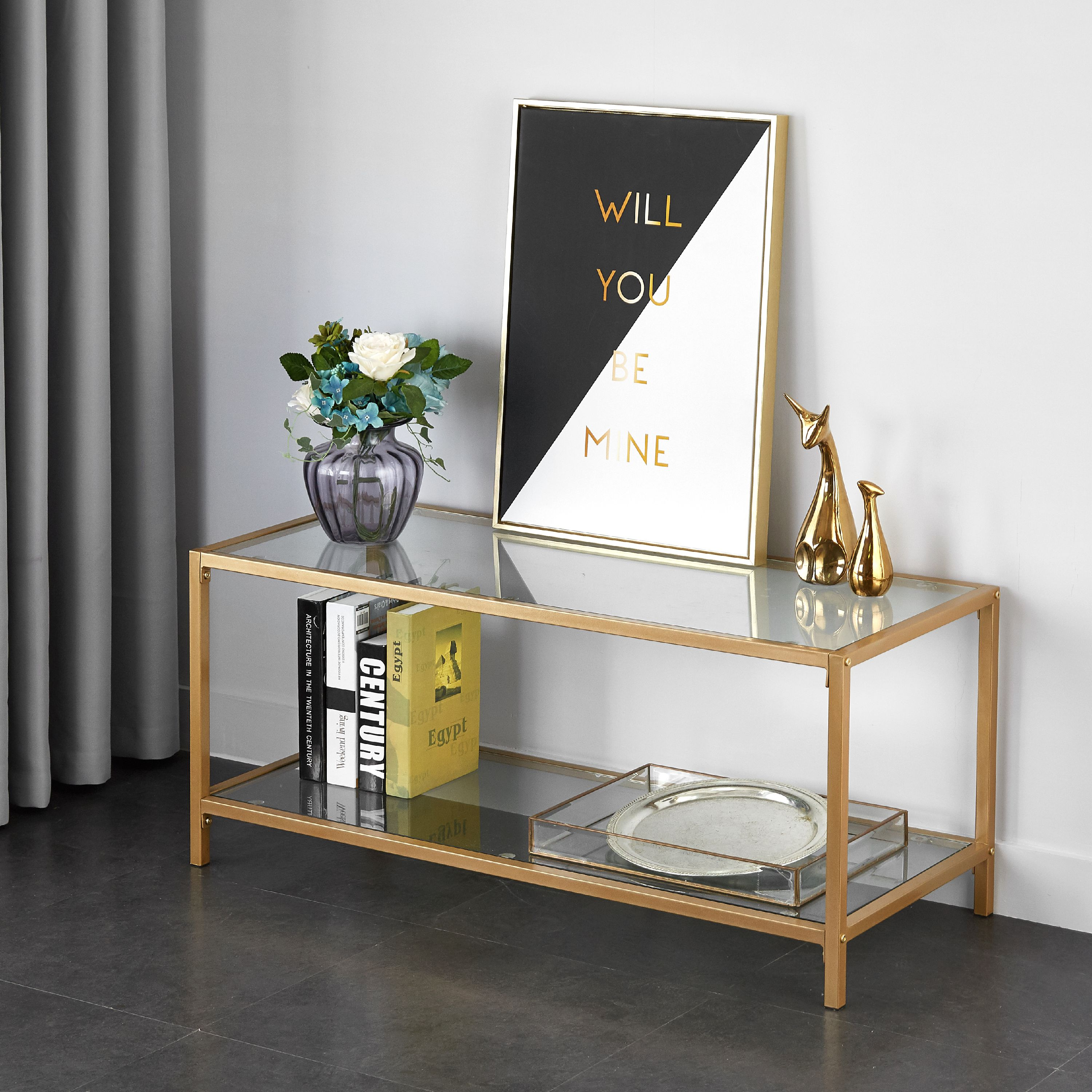 Mainstays Tempered Glass And Metal Tv Stand Collection Gold