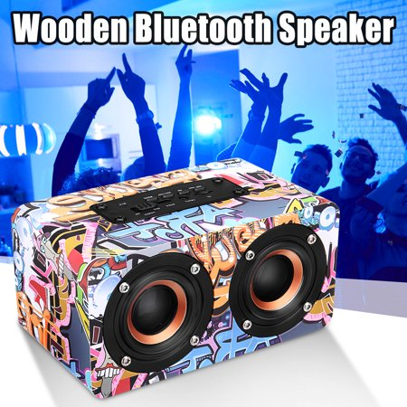 Hi-Fi 3D Loud Quad Speaker Wireless bluetooth Wooden FM Stereo Radio Super Bass Can Use as Bible Aduio Outdoor Speakers Player Best Christmas
