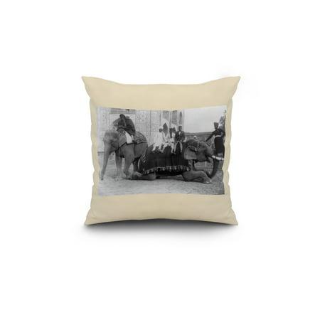 Men Riding Elephants in India Photograph 18x18 Spun Polyester Pillow W