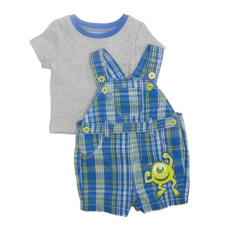 - Disney Infant Boys Blue Plaid Monster University Shirt & Shortall Shorts 6-9m
