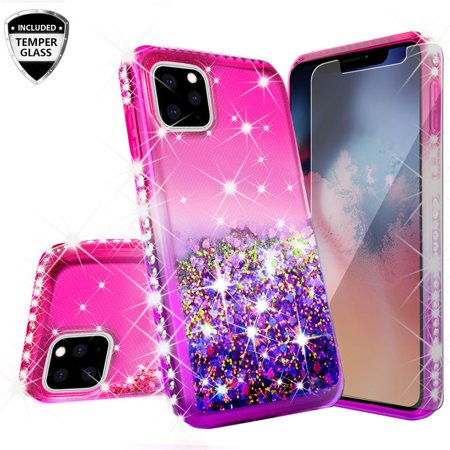 iPhone 11 (2019) Case, Glitter Liquid Floating Bling Sparkle Moving Quicksand Waterfall Girls Women Cute Protective Phone Case with Tempered Glass Screen Protector - Hot Pink/Purple (Moving Iphone 4 Case)
