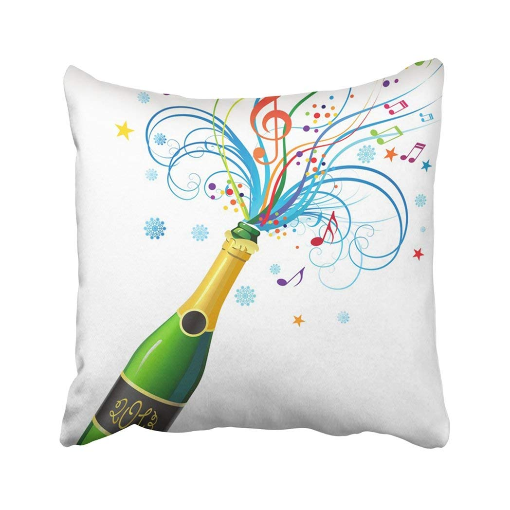 BPBOP Black Music With Bottle Of Champagne And Abstract Composition Green Clear Confetti Glass Pillowcase Throw Pillow Cover Case 18x18 inches