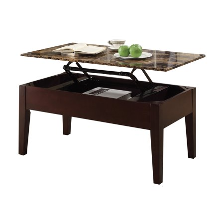 Acme Celestial Faux Marble Lift Top Coffee Table In Cherry