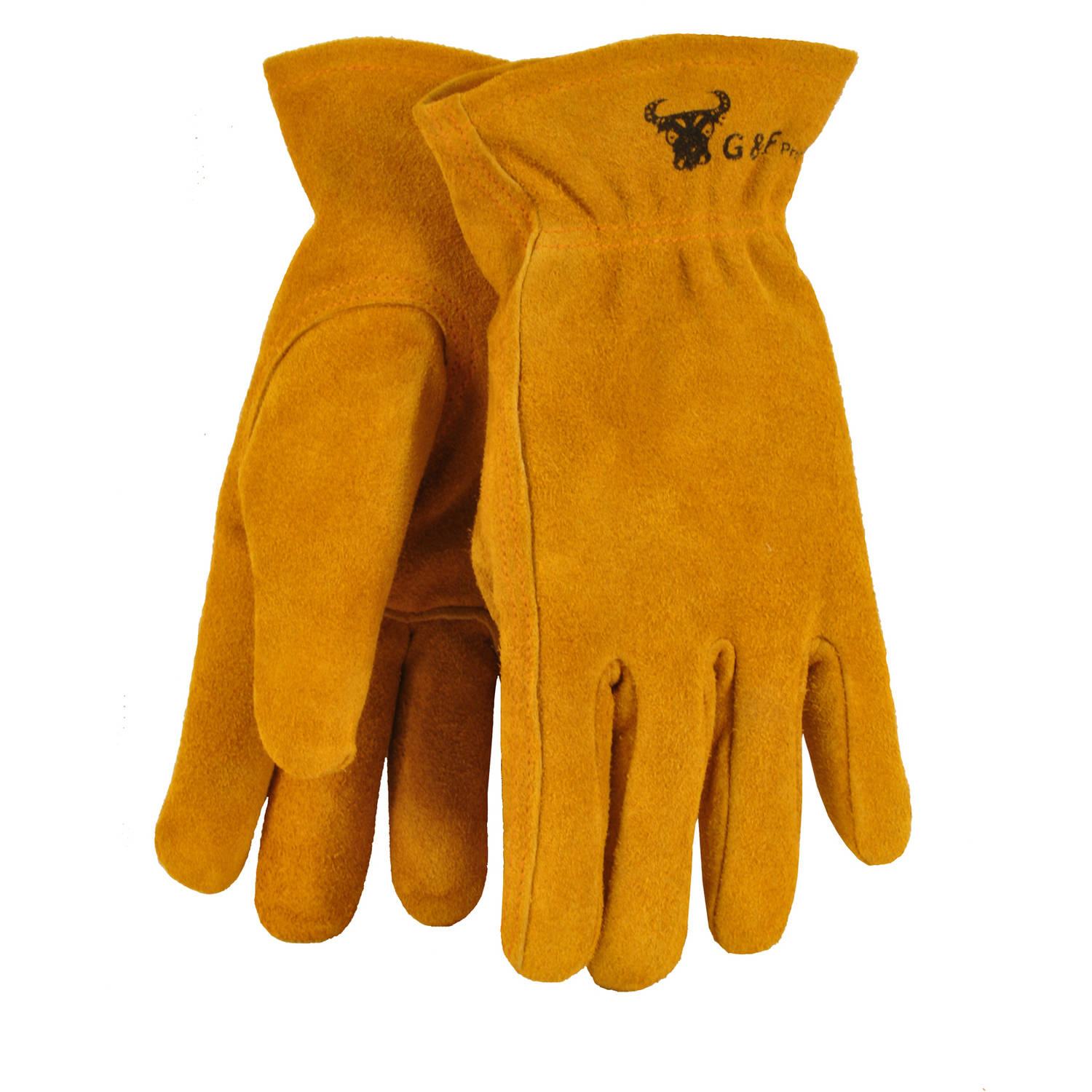 G & F Kids Leather Work Gloves for Ages 7 to 11, Brown