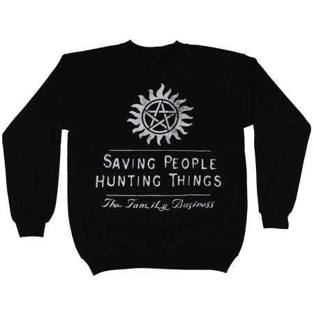 Supernatural Mens Crewneck Sweatshirt - Saving People Hunting Things Logo Image People Mens Sweatshirt
