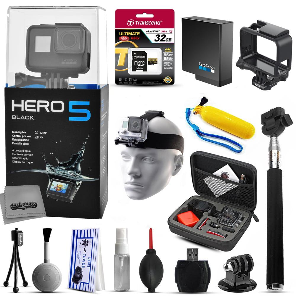 Buy GoPro HERO5 Black CHDHX-501 with 32GB Ultra Memory + Premium Case + Selfie Stick + Head Strap + Floaty Bobber + MicroSD... by GoPro