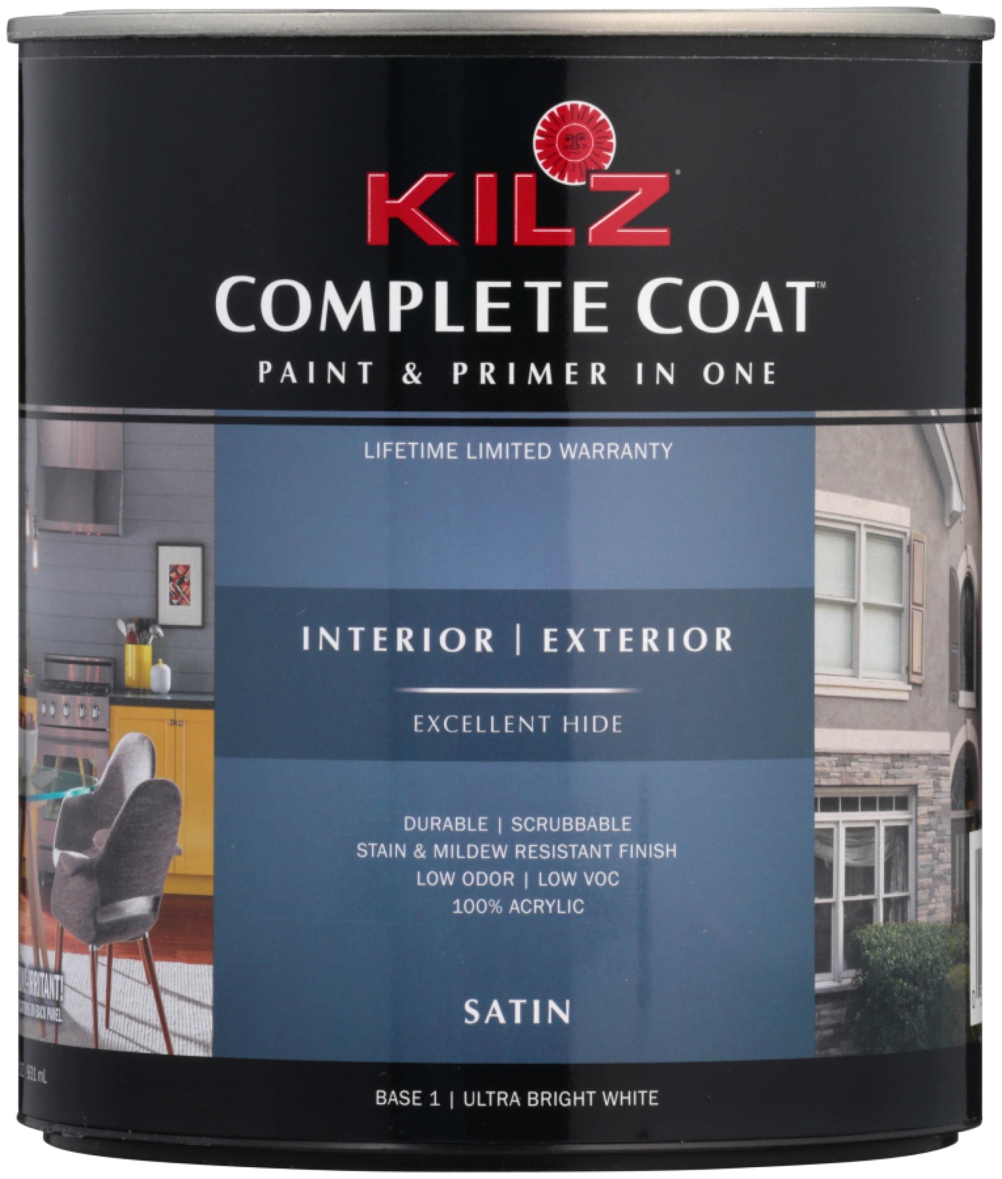 Kilz® Complete Coat™ Ultra Bright White Satin Paint & Primer 31.5 fl. oz. Can