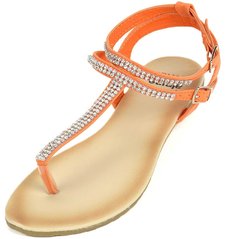 f23ef4cb4 alpine swiss - Alpine Swiss Womens Gladiator Sandals T-Strap Slingback  Roman Rhinestone Flats - Walmart.com
