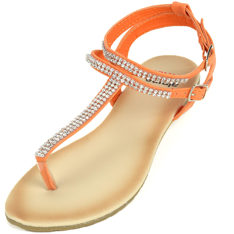 Alpine Swiss Womens Gladiator Sandals T-Strap Slingback Roman Rhinestone Flats