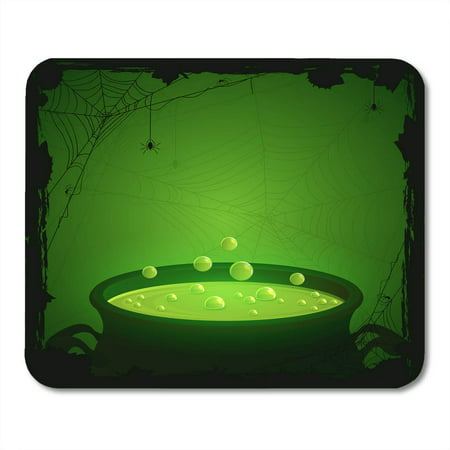 LADDKE Witch Halloween Witches Cauldron Green Potion and Spiders Brew Cartoon Pot Mousepad Mouse Pad Mouse Mat 9x10 inch](Halloween Cartoon Cauldron)